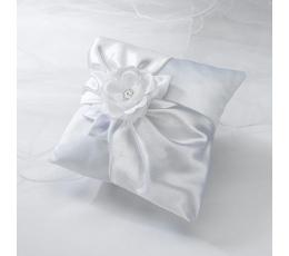 Pagalvėlė žiedams, balta su rože
