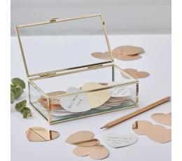 Palinkėjimų dėžutė, stiklinė su širdelėmis