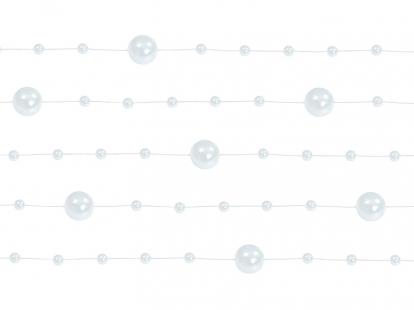 Perliukų girlianda, balta perlamutrinė (1,3 m)