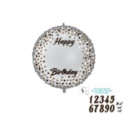 Personalizuojamas folinis balionas su lipdukais, sidabrinis (46 cm)