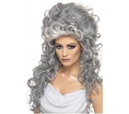 Pilkas garbanotas perukas