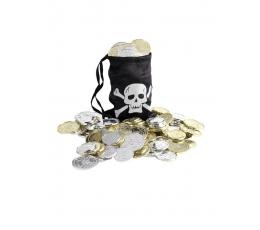 Pirato pinigų maišelis su monetomis