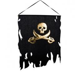 Piratų vėliava, juodai su auksu (58x77 cm)