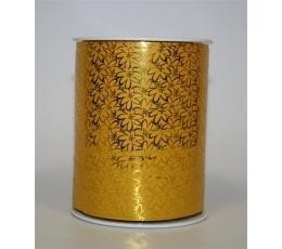 Plastikinė juostelė, geltona su auksinėmis gėlytėmis ( 200 m.)