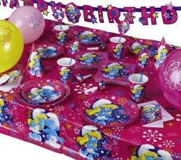 """Plastikinė staltiesė """"Smurfai""""/rožinė (1.20 m. x 1.80 m) 0"""