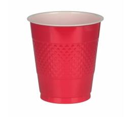 Plastikiniai puodeliai, raudoni (10 vnt./355 ml)
