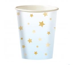 """Puodeliai """"Aukso žvaigždės"""", melsvi (8 vnt./250 ml)"""