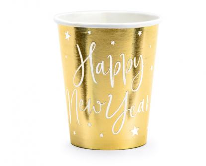 """Puodeliai """"Happy New Year"""", auksiniai (6 vnt./220 ml)"""