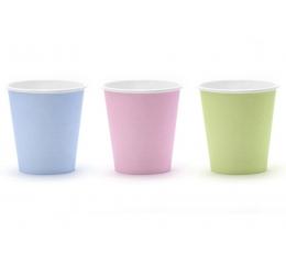 Puodeliai,  įvairiaspalviai pasteliniai (6 vnt./200 ml.
