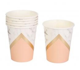 Puodeliai, marmuriniai-persikiniai (8 vnt./260 ml)