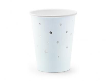 Puodeliai, melsvi su sidabro žvaigždutėmis (6 vnt./260 ml)
