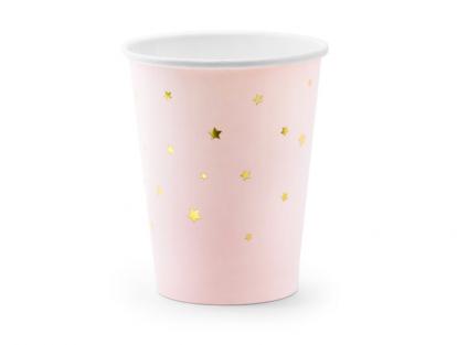 Puodeliai, rausvi su aukso žvaigždutėmis (6 vnt./260 ml)