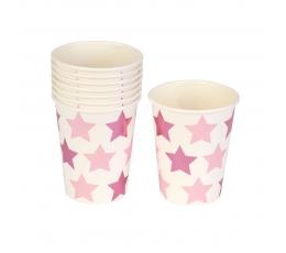 """Puodeliai """"Rožinės žvaigždutės"""" (8 vnt./250 ml)"""