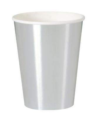Puodeliai, sidabriniai blizgūs (8 vnt./355 ml)