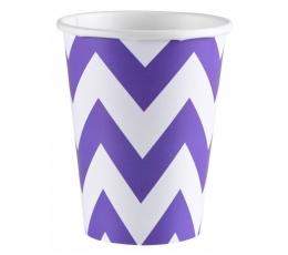 """Puodeliai """"Violetiniai zigzagai"""" (8 vnt./266 ml)"""