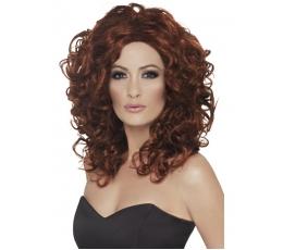 Raudono atspalvio garbanotas perukas