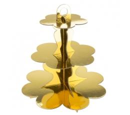 Saldumynų stovas, aukso spalvos (3-jų aukštų)