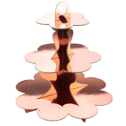 Saldumynų stovas, rožinio aukso spalvos (3-jų aukštų)