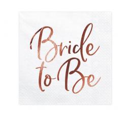 """Servetėlės """"Bride to be"""", baltos-rožinio aukso (20 vnt.)"""