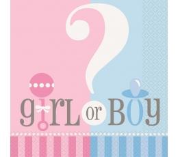 """Servetėlės """"Girl or boy?"""" (20 vnt.)"""
