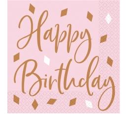 """Servetėlės """"Happy Birthday"""", rožinio aukso ( 16 vnt.)"""