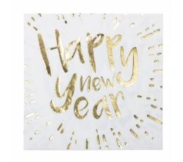 """Servetėlės """"Happy New Year"""", baltos-auksinės (12 vnt.)"""
