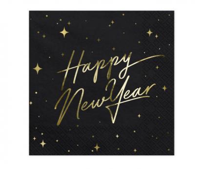 "Servetėlės ""Happy New Year"", juodos (20 vnt.)"