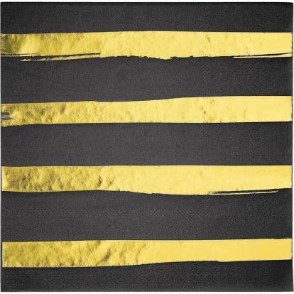 Servetėlės, juodos-auksinės dryžuotos (16 vnt.)