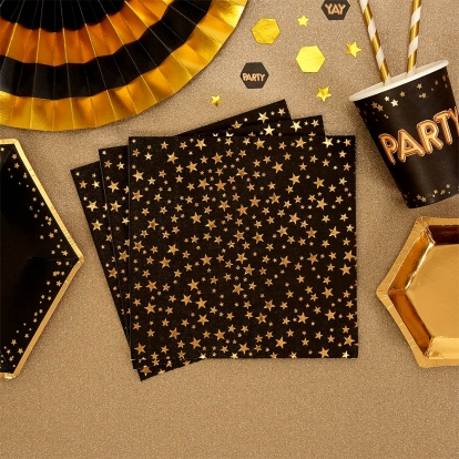 Servetėlės, juodos su aukso žvaigždėmis (16 vnt.)
