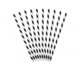 Šiaudeliai, juodi plačiai dryžuoti (10 vnt.)
