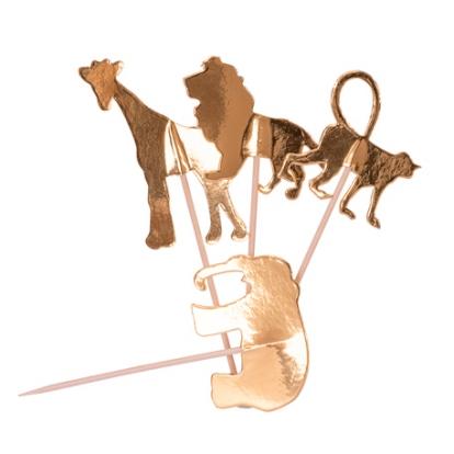 """Smeigtukai-dekoracijos """"Džiunglių gyvūnai"""", auksiniai (20 vnt./12 cm)"""