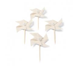 """Smeigtukai-dekoracijos iš lino """"Vėjo malūnėliai"""" (4 vnt./4 cm)"""
