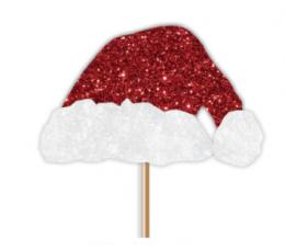 """Smeigtukai-dekoracijos """"Kalėdų Senelio kepurė"""" (12 vnt.)"""