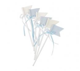 Smeigtukai-vėliavėlės su kaspinėliu, medžiaginės melsvos (6 vnt./20 cm) 0