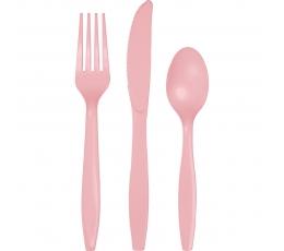 Stalo įrankių rinkinys, švelniai rožinis (8-iems asmenims)