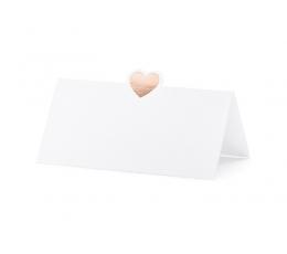 """Stalo kortelės """"Rose gold širdelė"""" (10 vnt.)"""