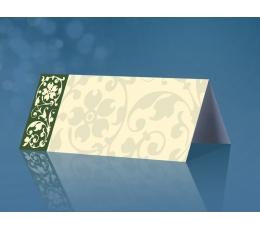 Stalo kortelės, su žaliais ornamentas (25 vnt.)