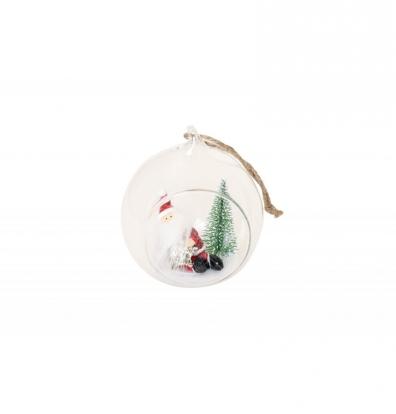 Stiklinė dekoracija su Kalėdų Seneliu (7x6,5x8 cm)