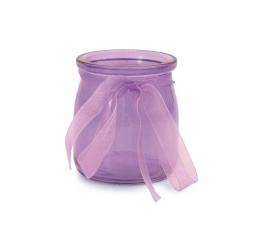 Stiklinė vazelė su kaspinėliu, violetinė (7,5x6,5 cm)