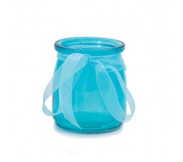 Stiklinė vazelė su kaspinėliu, žydra (7,5x6,5 cm)