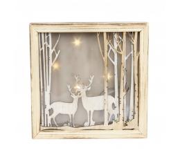 "Šviečianti dekoracija ""Elniai miške"" (20x4,5x20 cm)"