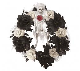 """Šviečiantis Helovino vainikas """"Skeletas rožėse"""" (40 cm)"""