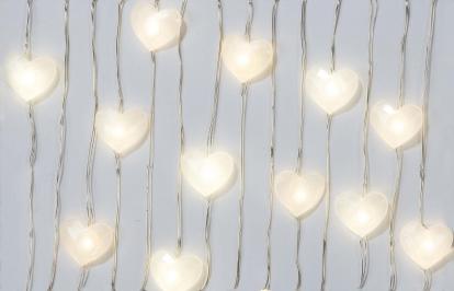"""Švieselių LED girlianda stalui """"Perlamutrinės širdelės"""" (3 m)"""
