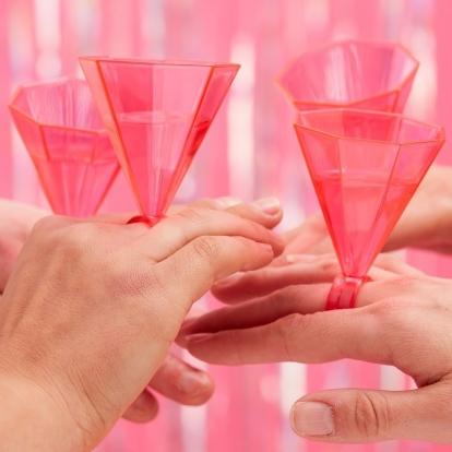 Taurės gėrimams-žiedai, rožinės (6 vnt.)