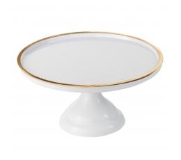 Tortinė iš melamino, balta su aukso krašteliu (30 cm)