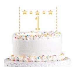"""Torto dekoracija """"1-asis gimtadienis"""", auksinė"""