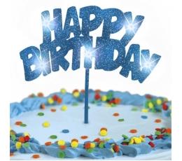 "Torto dekoracija ""Happy birthday"" mėlyna (1 vnt.)"