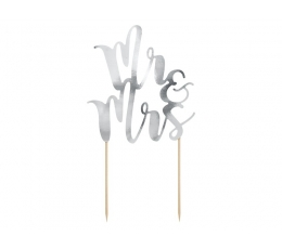 """Torto dekoracija """"Mr and Mrs""""/sidabrinė (1 vnt.)"""