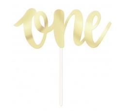 "Torto dekoracija ""One"", auksinė (15,5 cm)"