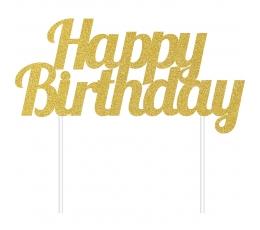 """Torto dekoracijas """"Happy Birthday"""", auksinė"""